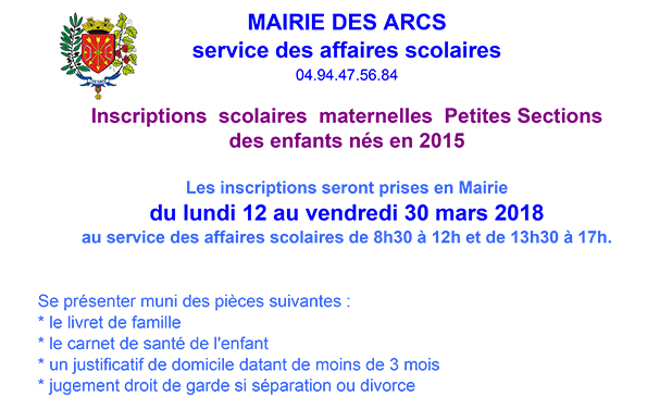 inscriptions mater 2015