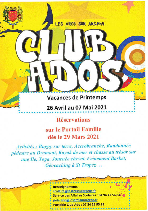 programme club ados avril 2021